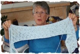 Jean with scarf in the making!
