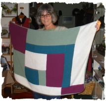 Diane has finished the baby blanket - notice I-cord edge