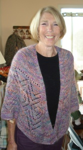 Carole modeling Terry's beautiful shawl