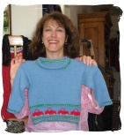 """Merle and her """"truck"""" sweater for nephew Abe"""