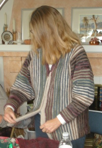 "Sarah in her ""Pinstripe"" sweater jacket"