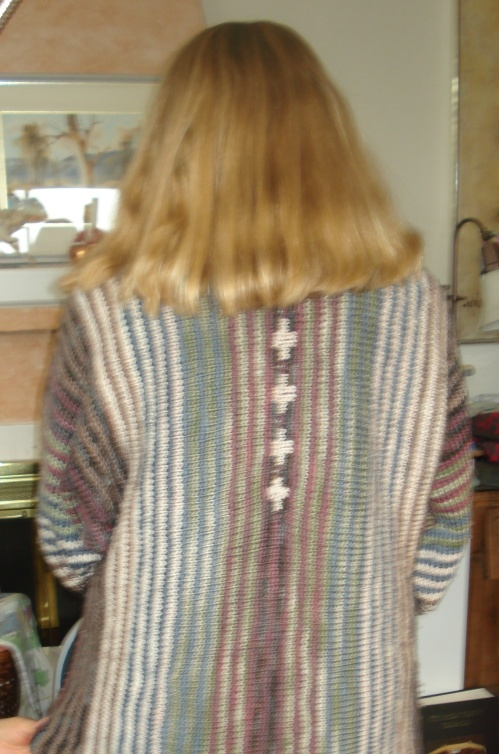 "The back of the ""Pinstripe"" Sweater Jacket"