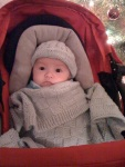 Jan's great-nephew snuggled up in hat and blanket!