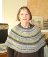 Helen - in her Round Shawl knit with Noro Silk Garden