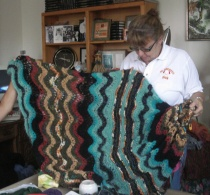 Terry and her Feather and Fan Afghan
