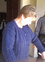 Linda in her beautiful Irish knit sweater.