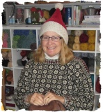 Sarah in her knit Santa hat!