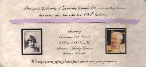 Invitation to celebrate Dorothy's 100th birthday!