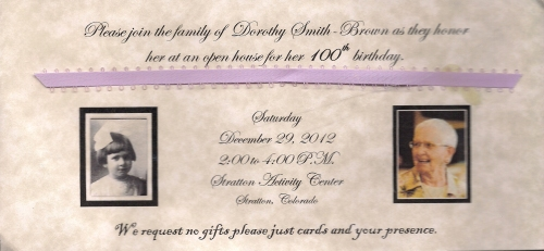 Invitation to celebrate Dorothy's 100th birthday!