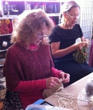 Janie working on her cowl