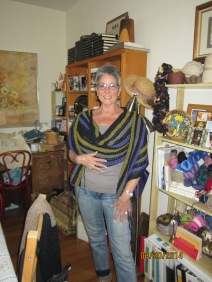 Diane's version of Cheryl Oberle's Rebozzo Shawl knit in MaggiKnits linen